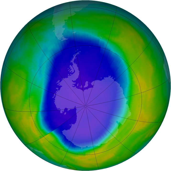Antarctic ozone map for 31 October 1997