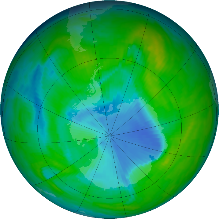 Antarctic ozone map for 25 November 1997