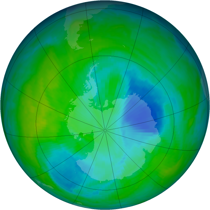 Antarctic ozone map for 02 December 1997