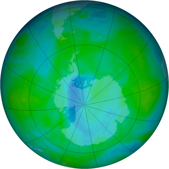 Antarctic ozone map for 14 December 1997