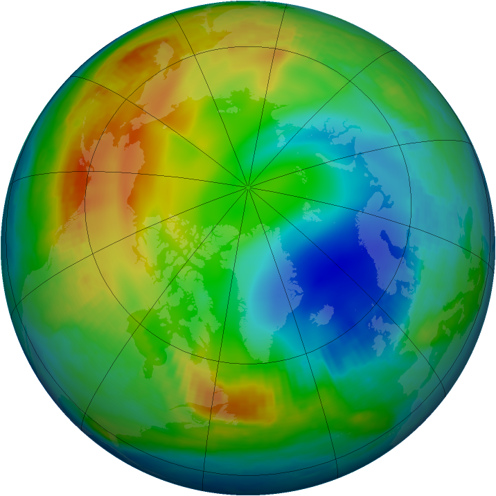 Arctic ozone map for 15 December 1997