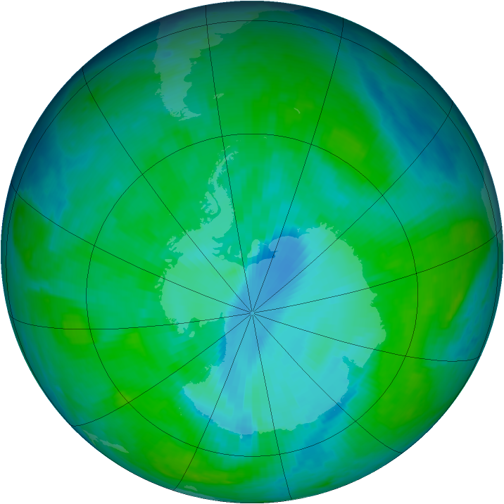 Antarctic ozone map for 17 December 1997