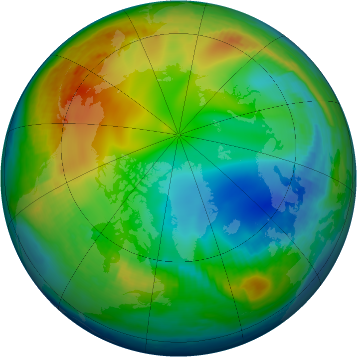 Arctic ozone map for 18 December 1997