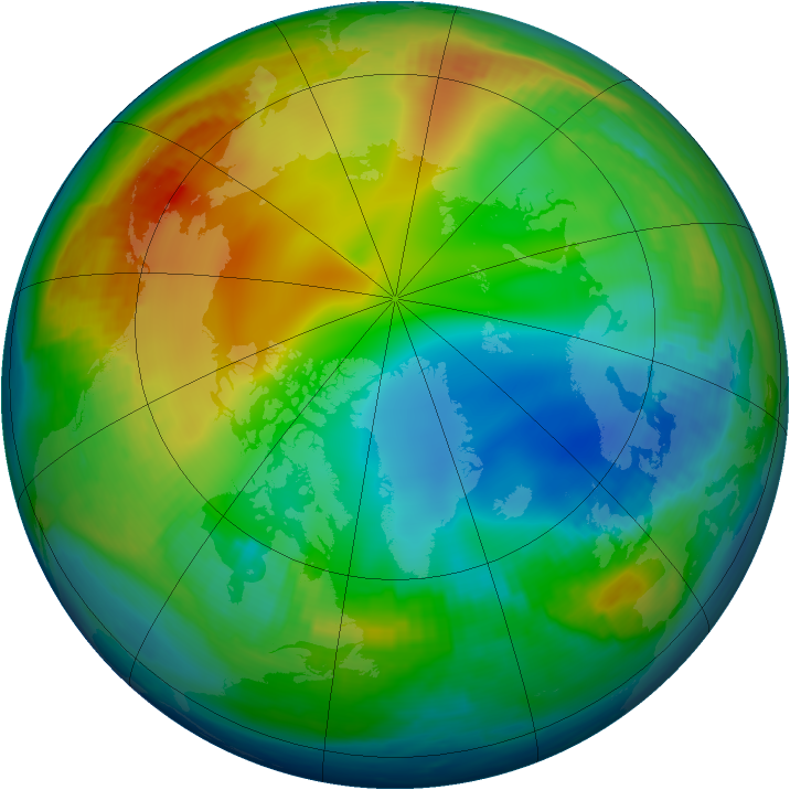 Arctic ozone map for 19 December 1997
