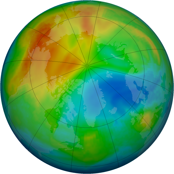 Arctic ozone map for 20 December 1997