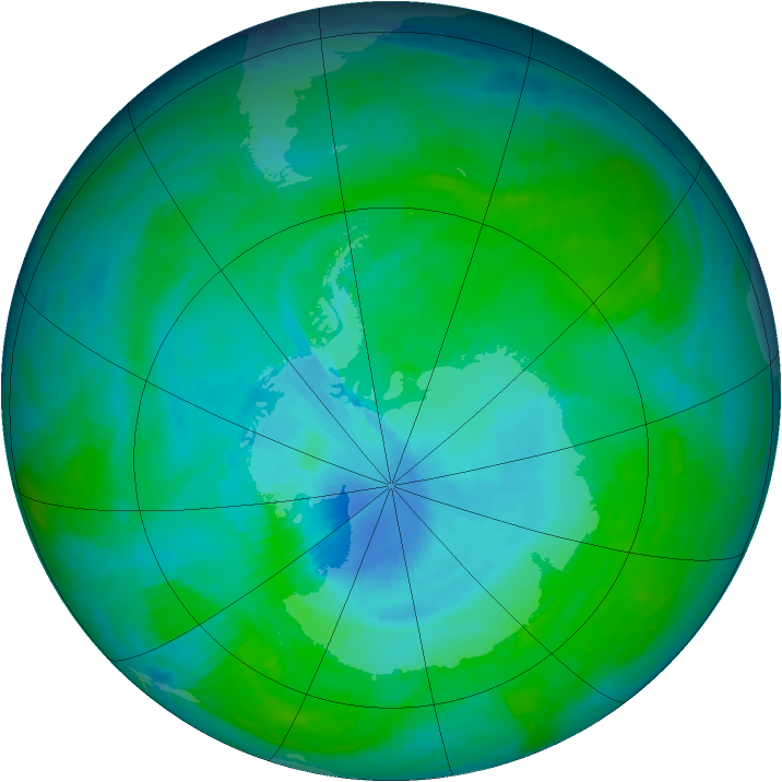 Antarctic ozone map for 23 December 1997