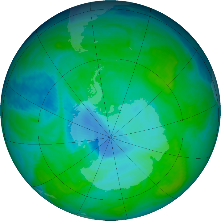 Antarctic ozone map for 25 December 1997
