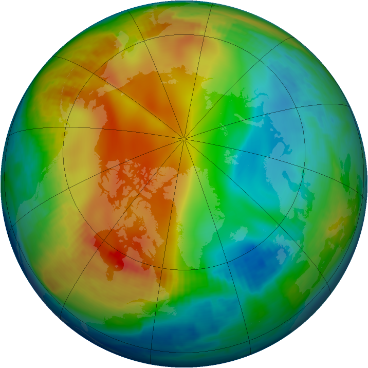 Arctic ozone map for 28 December 1997