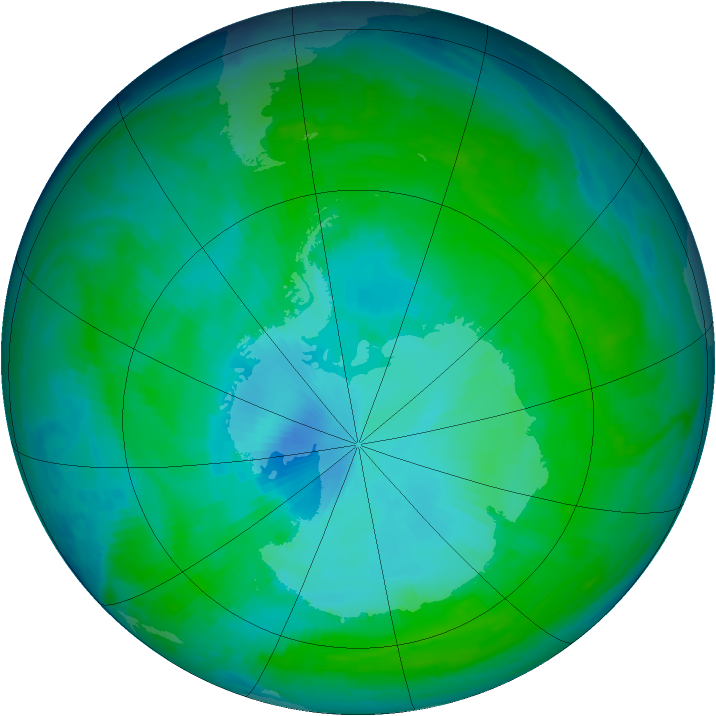 Antarctic ozone map for 29 December 1997