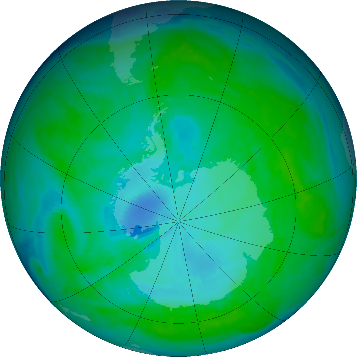 Antarctic ozone map for 30 December 1997