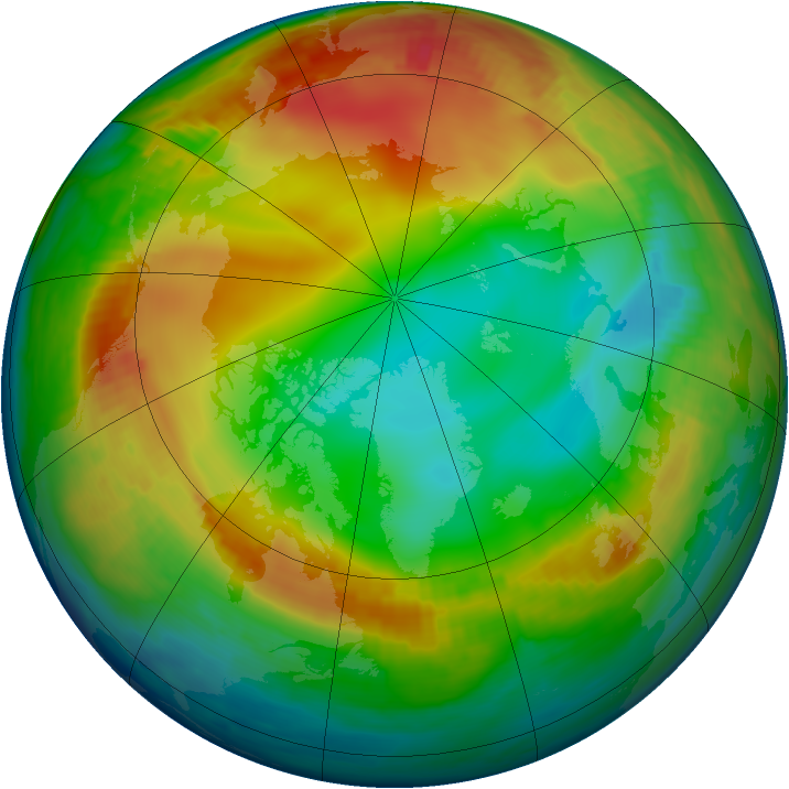 Arctic ozone map for 05 January 1998