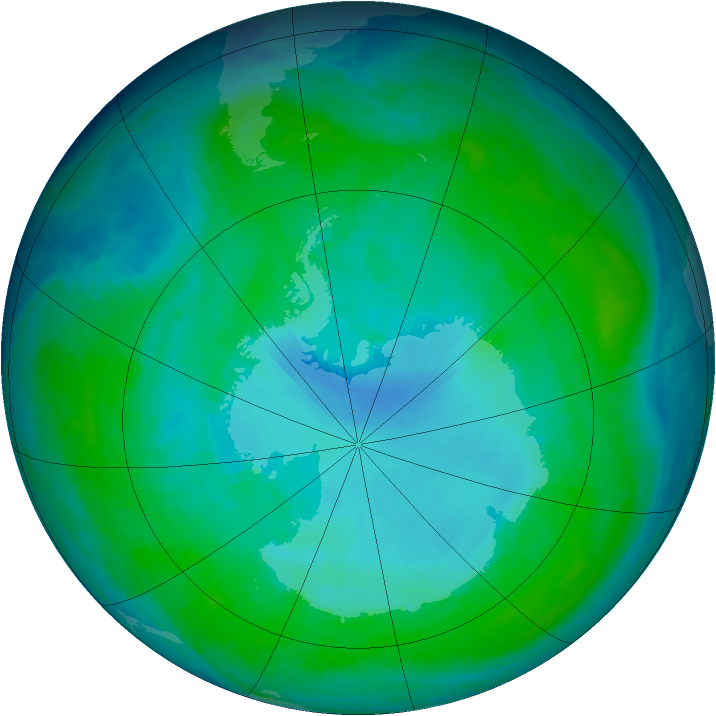 Antarctic ozone map for 05 January 1998