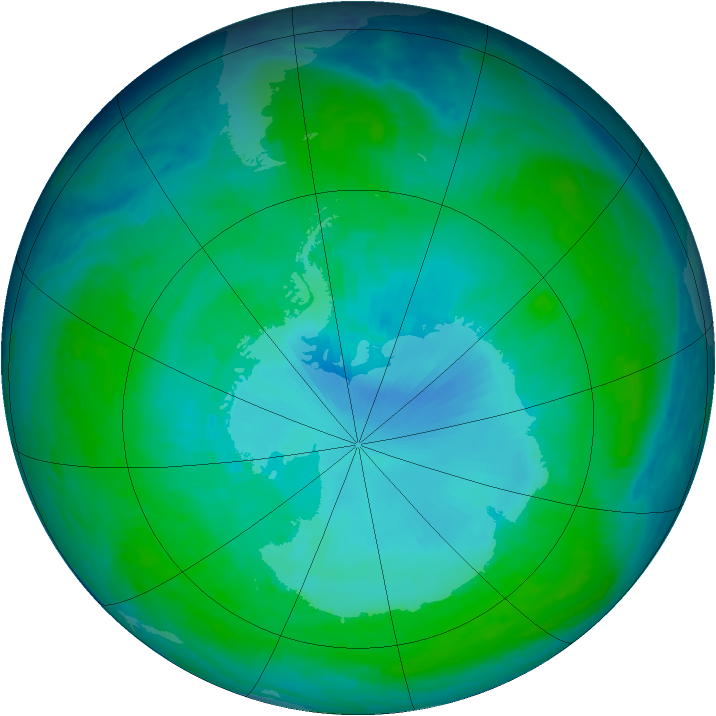 Antarctic ozone map for 06 January 1998