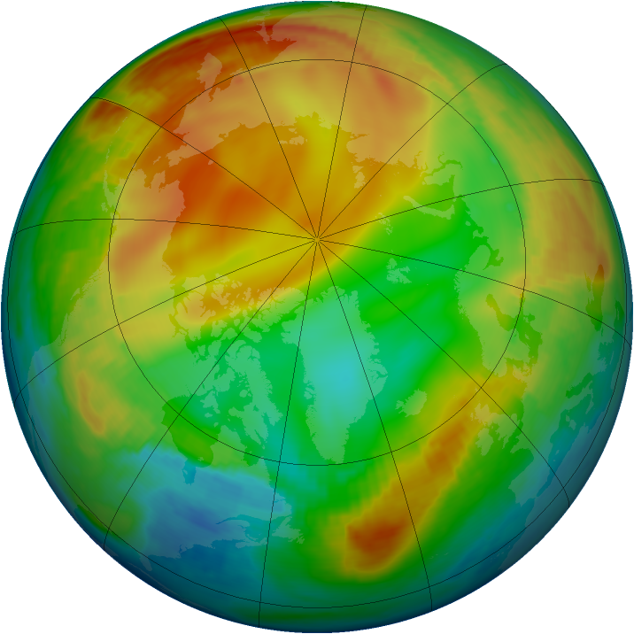 Arctic ozone map for 08 January 1998