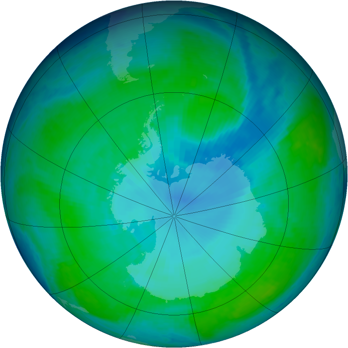 Antarctic ozone map for 08 January 1998