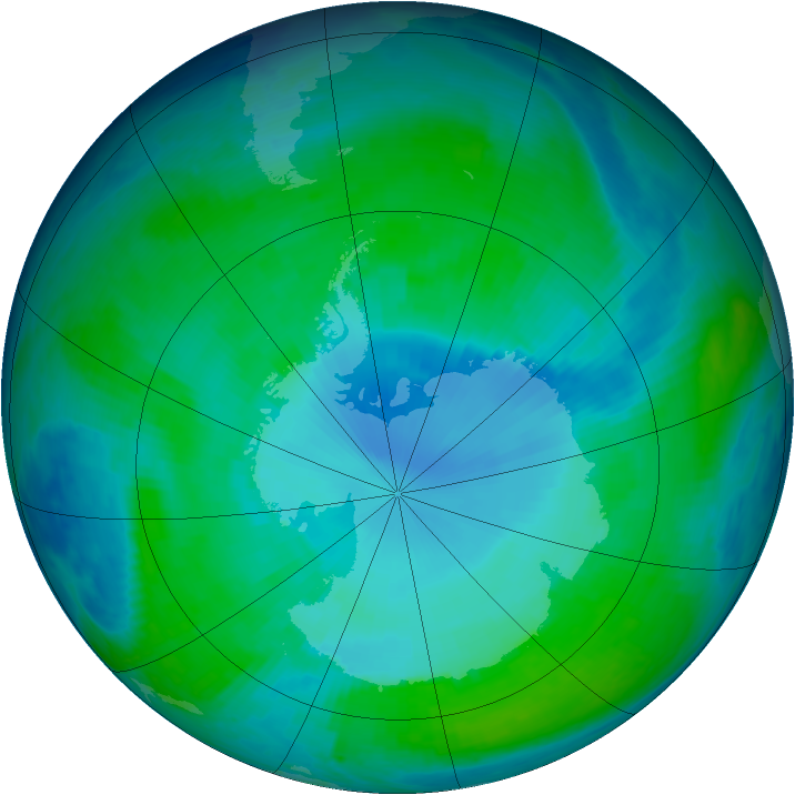 Antarctic ozone map for 09 January 1998