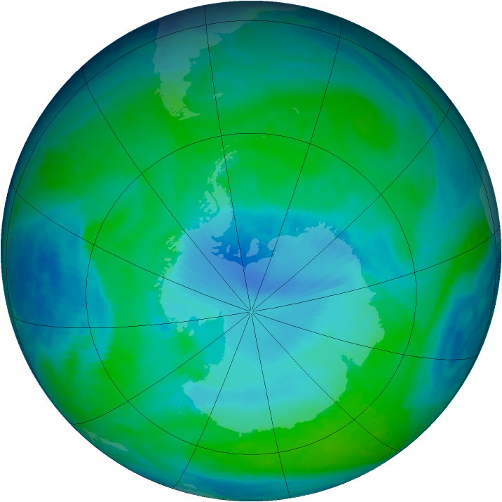 Antarctic ozone map for 10 January 1998