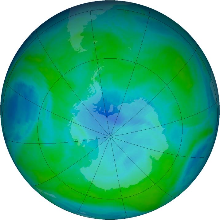 Antarctic ozone map for 11 January 1998