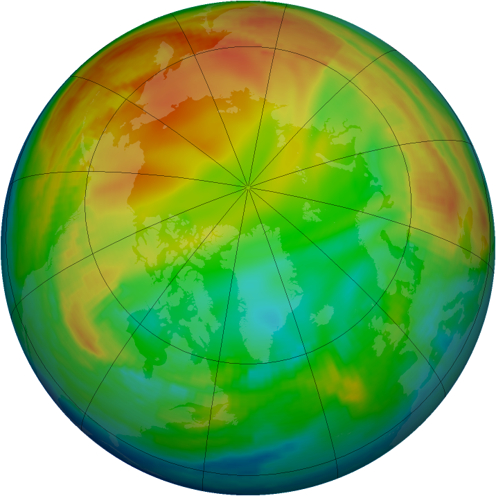 Arctic ozone map for 12 January 1998