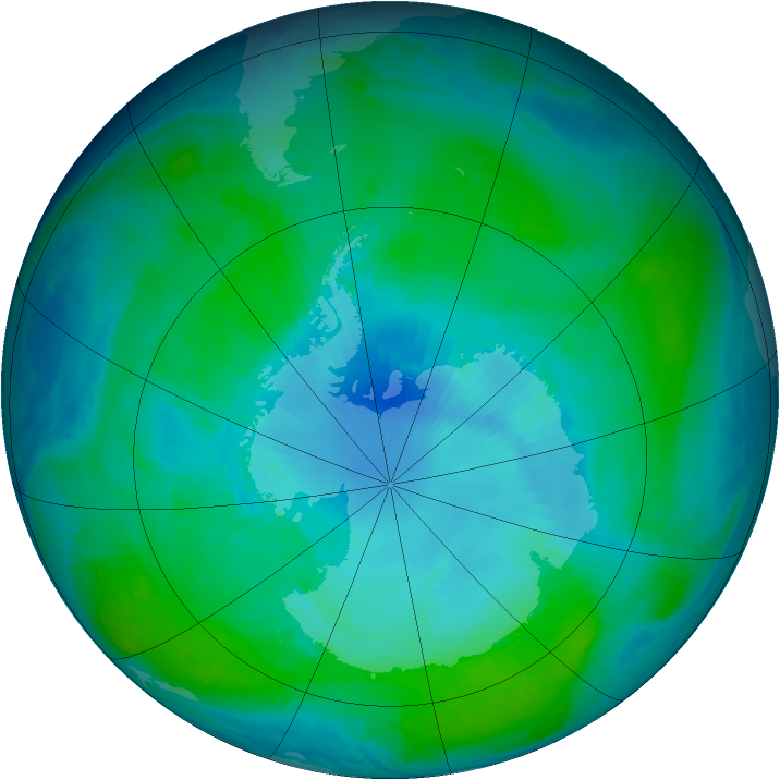 Antarctic ozone map for 12 January 1998