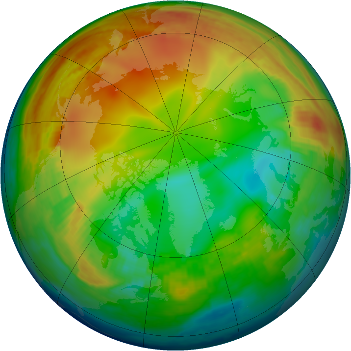 Arctic ozone map for 13 January 1998