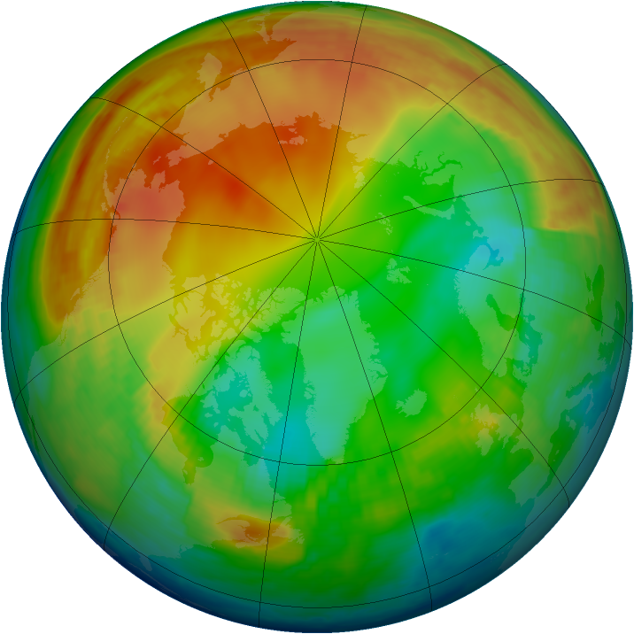 Arctic ozone map for 14 January 1998