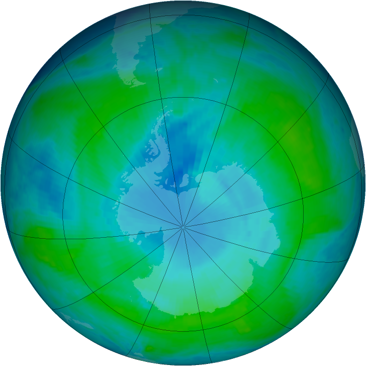 Antarctic ozone map for 14 January 1998