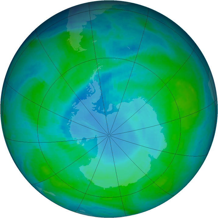 Antarctic ozone map for 16 January 1998