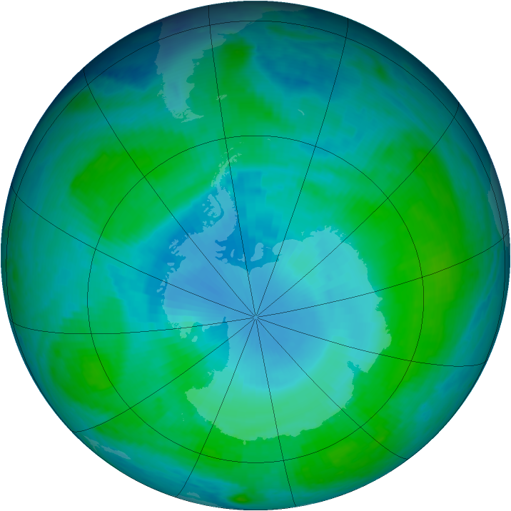 Antarctic ozone map for 17 January 1998