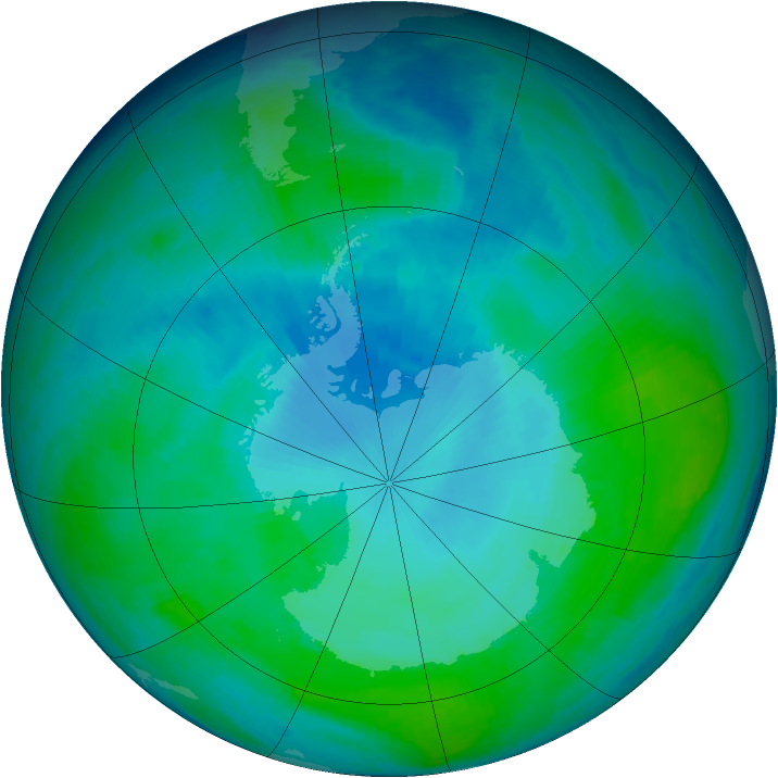 Antarctic ozone map for 21 January 1998