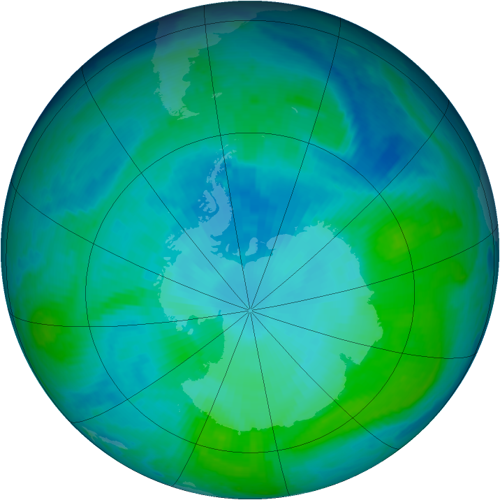 Antarctic ozone map for 23 January 1998
