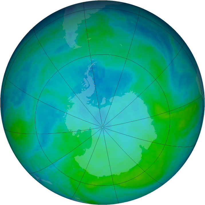 Antarctic ozone map for 24 January 1998
