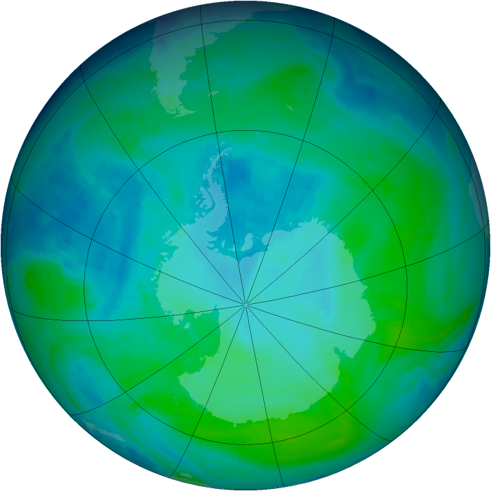 Antarctic ozone map for 25 January 1998