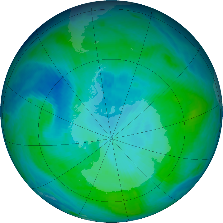 Antarctic ozone map for 26 January 1998