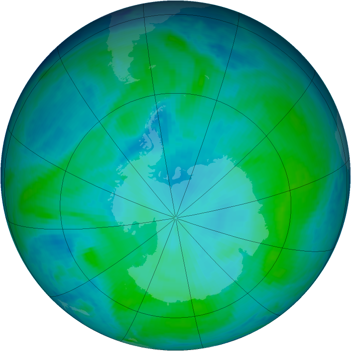 Antarctic ozone map for 28 January 1998