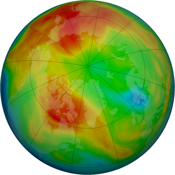 Arctic ozone map for 29 January 1998