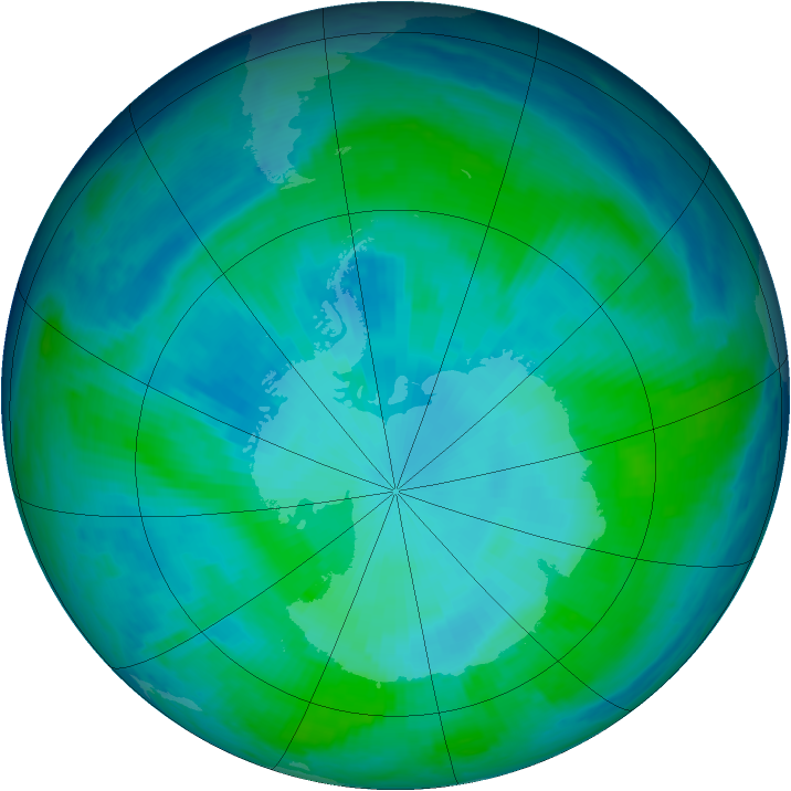 Antarctic ozone map for 30 January 1998