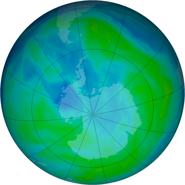 Antarctic ozone map for 02 February 1998