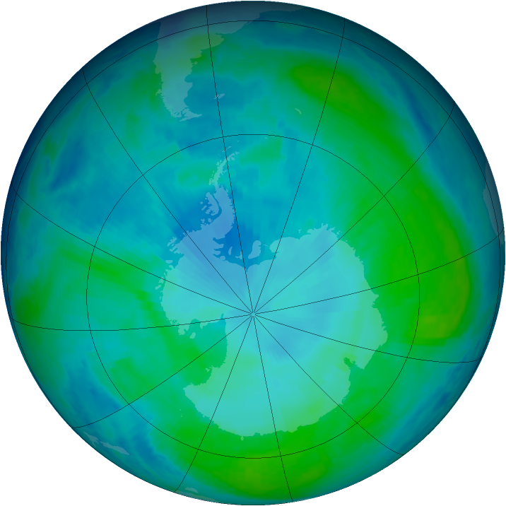 Antarctic ozone map for 04 February 1998