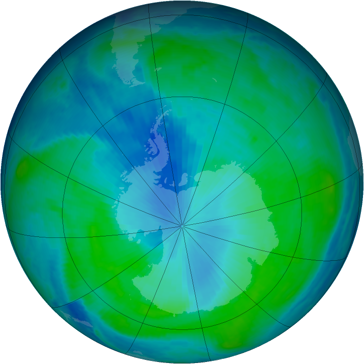 Antarctic ozone map for 09 February 1998