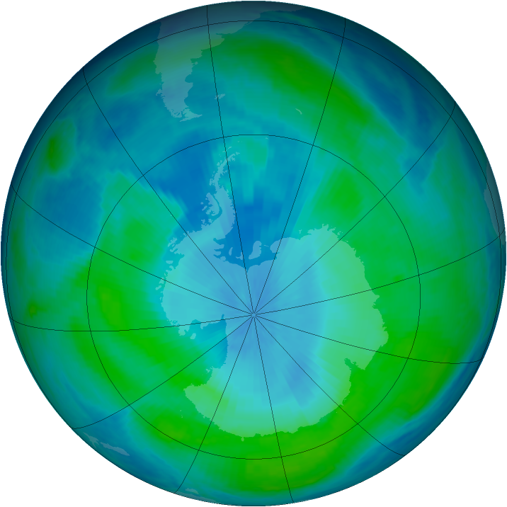 Antarctic ozone map for 11 February 1998