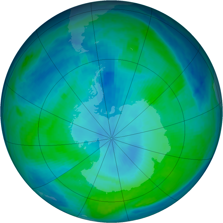 Antarctic ozone map for 12 February 1998