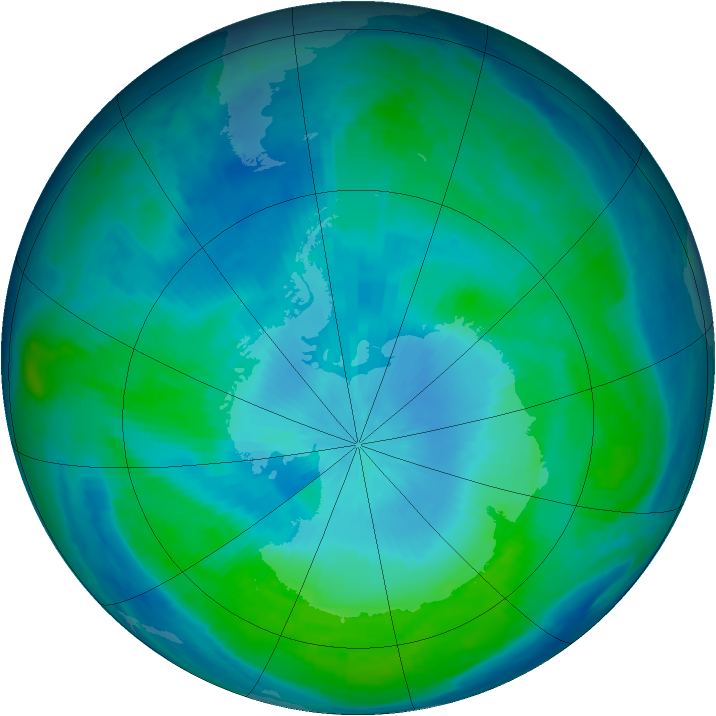 Antarctic ozone map for 14 February 1998