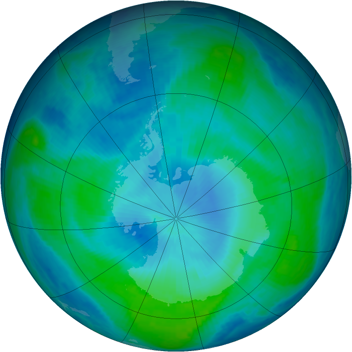 Antarctic ozone map for 15 February 1998