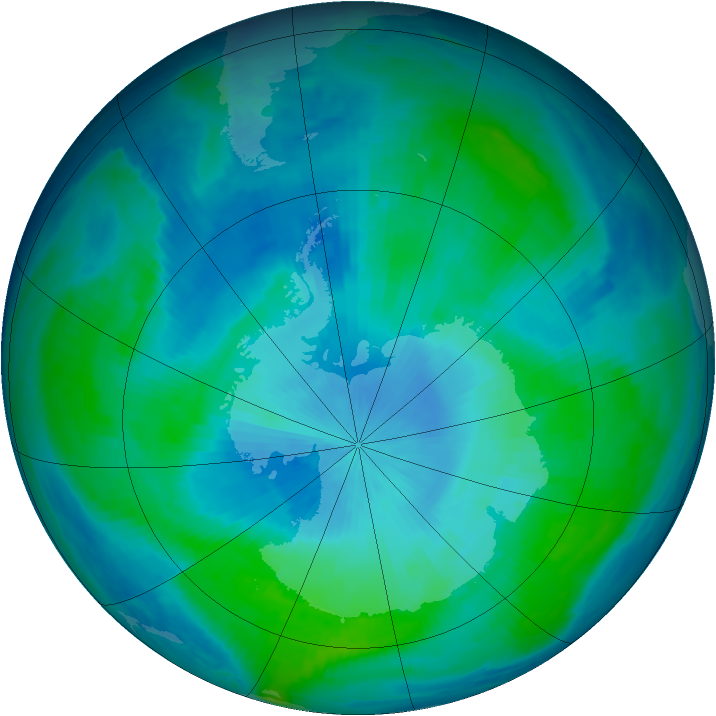 Antarctic ozone map for 16 February 1998