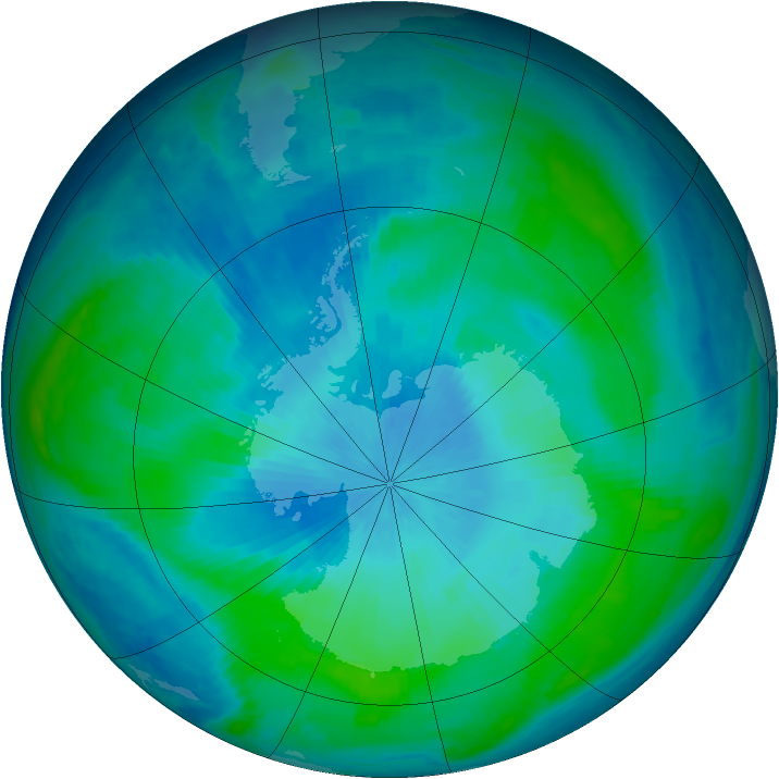 Antarctic ozone map for 17 February 1998