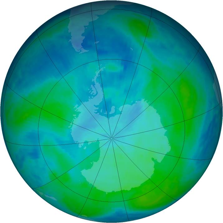 Antarctic ozone map for 22 February 1998