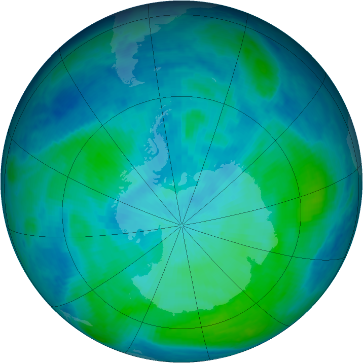 Antarctic ozone map for 23 February 1998