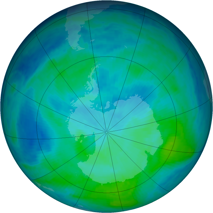 Antarctic ozone map for 25 February 1998