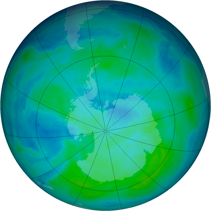 Antarctic ozone map for 28 February 1998